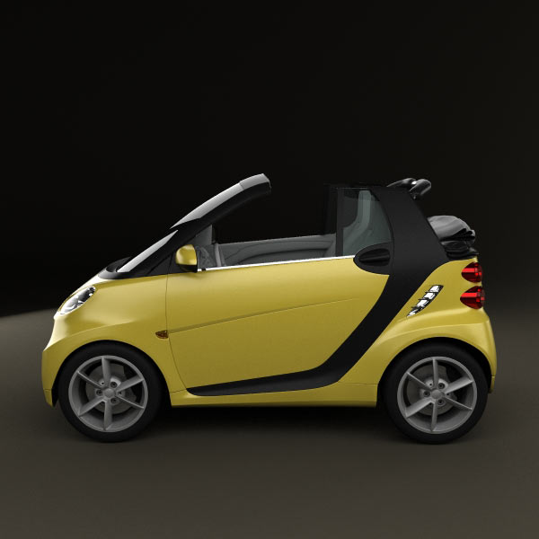 Smart Forfour 2006 3d Model: Smart Fortwo 2011 Convertible Open Top 3D Model For