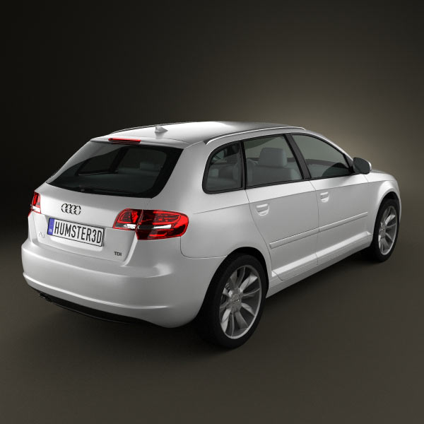 audi a3 sportback 2011 3d model for download in various formats. Black Bedroom Furniture Sets. Home Design Ideas