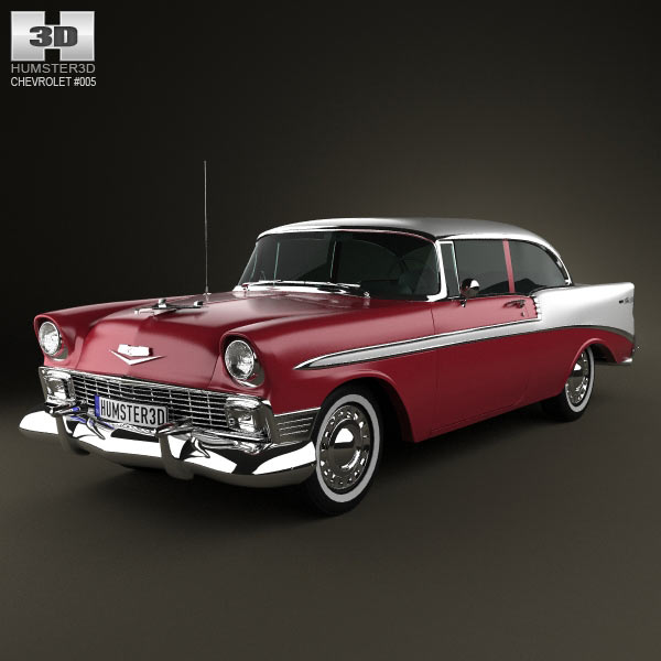 chevrolet belair 2 door hardtop 1956 3d model for download. Black Bedroom Furniture Sets. Home Design Ideas