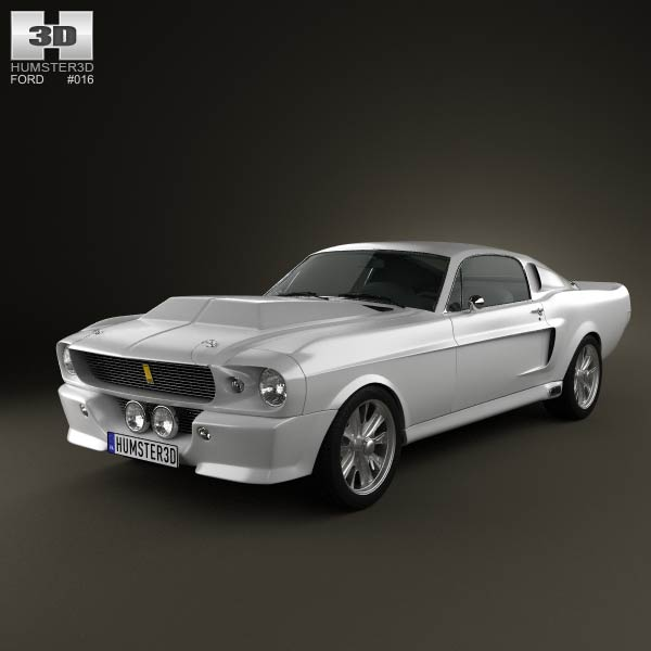 ford mustang shelby gt500 eleanor 1967 3d model for. Black Bedroom Furniture Sets. Home Design Ideas