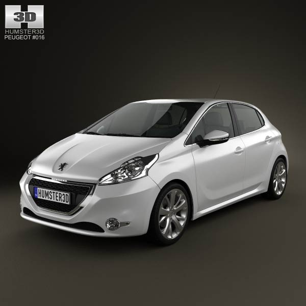 peugeot 208 5 door 2013 3d model for download in various. Black Bedroom Furniture Sets. Home Design Ideas
