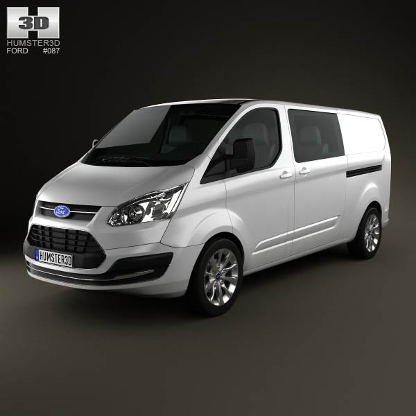 ford transit custom crew van lwb 2013 3d model for download in various formats. Black Bedroom Furniture Sets. Home Design Ideas