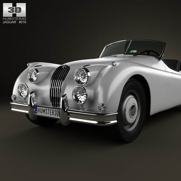 1954 Jaguar Xk140: Jaguar XK 140 Roadster With HQ Interior 1954 3D Model For