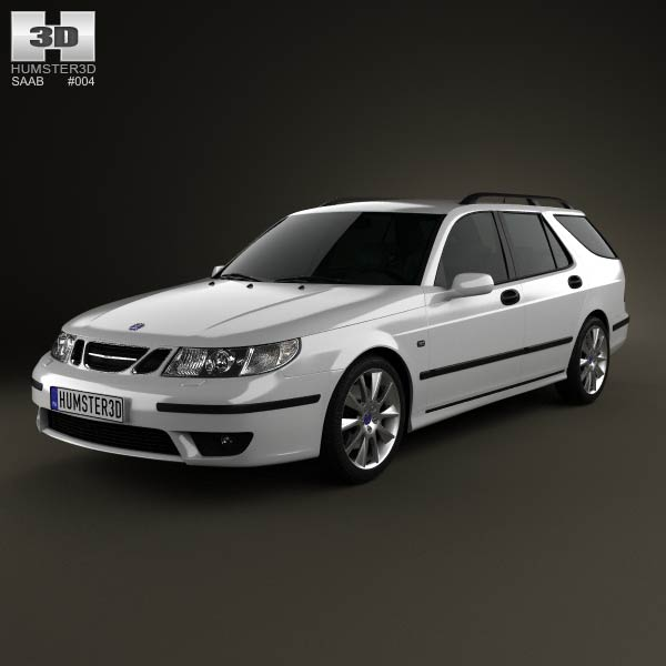saab 9 5 aero wagon 2005 3d model for download in various. Black Bedroom Furniture Sets. Home Design Ideas