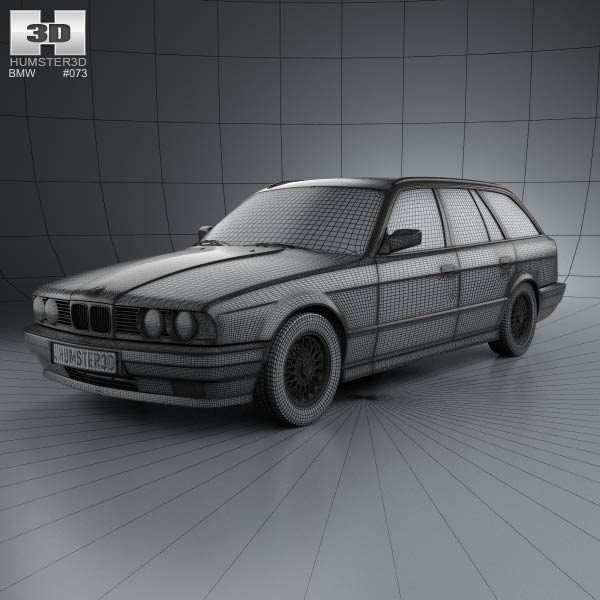 BMW 5 Series Touring (E34) 1993 3D Model For Download In