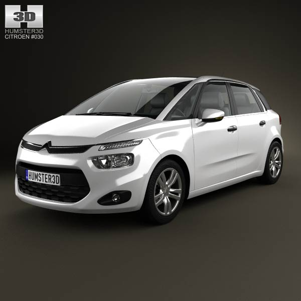 citroen c4 picasso 2014 3d model for download in various formats. Black Bedroom Furniture Sets. Home Design Ideas