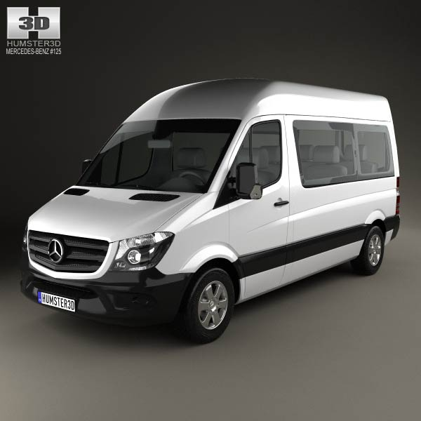 mercedes benz sprinter passenger van 2013 3d model for download in various formats. Black Bedroom Furniture Sets. Home Design Ideas
