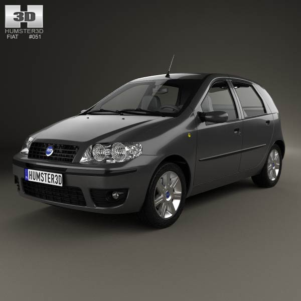 fiat punto 5 door 2003 3d model for download in various formats. Black Bedroom Furniture Sets. Home Design Ideas