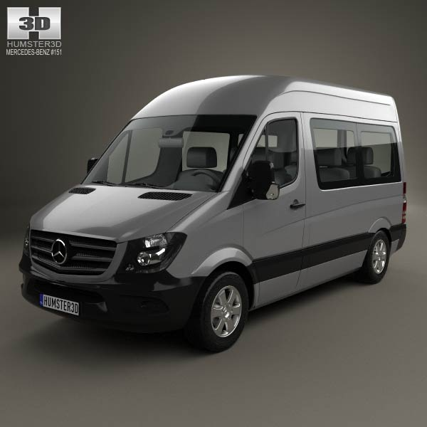 Mercedes benz sprinter passenger van cwb hr 2013 3d model for Mercedes benz font download