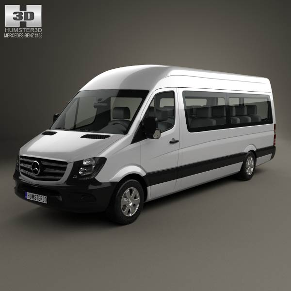 Mercedes benz sprinter passenger van lwb hr 2013 3d model for Mercedes benz font download