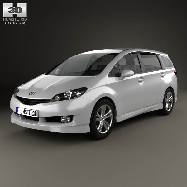 toyota wish 2009 3d model for download in various formats